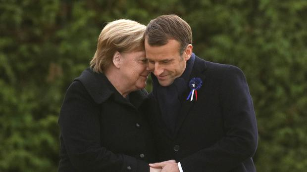 French President Emmanuel Macron and German Chancellor Angela Merkel remembered those killed in the war (Philippe Wojazer/Pool Photo via AP)
