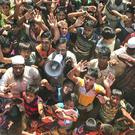 Rohingya refugees shout slogans against repatriation (Dar Yasin/AP)