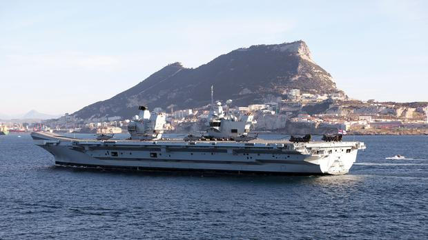 The Royal Navy's new aircraft carrier HMS Queen Elizabeth as it makes its way to Gibraltar (Dave Jenkins/PA)