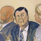 "Courtroom sketch of Joaquin ""El Chapo"" Guzman (centre) (Elizabeth Williams/AP)"