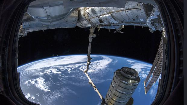 A commercial shipment arrives at the International Space Station on Monday (Alexander Gerst/Esa/Nasa/AP)