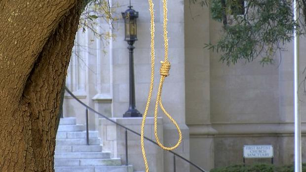 A noose hangs on a tree on the state capitol grounds (WLBT-TV via AP)