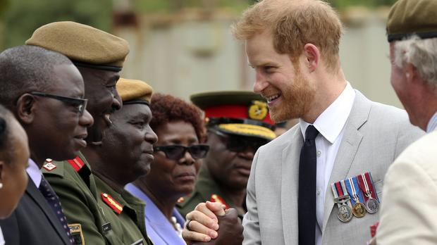 The Duke of Sussex arrives at the Burma Barracks for a meeting with war veterans and widows in Lusaka (Tsvangirayi Mukwazhi/AP)