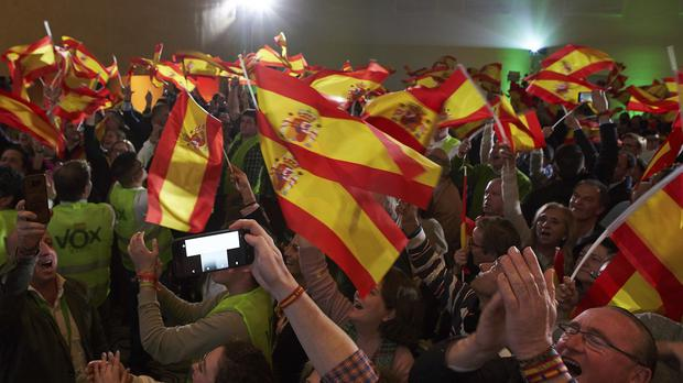 Spain's far-right Vox party, wave Spanish flags as they celebrate the results during regional elections in Andalusia, in Seville, Spain (Gogo Lobato/AP)