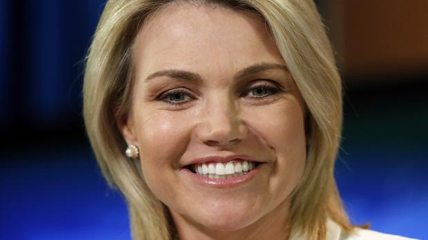 FILE – In this Aug. 9, 2017, file photo, State Department spokeswoman Heather Nauert speaks during a briefing at the State Department in Washington. President Donald Trump is expected to nominate Nauert to be the next U.S. ambassador to the United Nations. Two administration officials confirmed Trump's plans. A Republican congressional aide said the president was expected to announce his decision by tweet on Friday morning, Dec. 7, 2018. The officials were not authorized to speak publicly. (AP Photo/Alex Brandon, File)