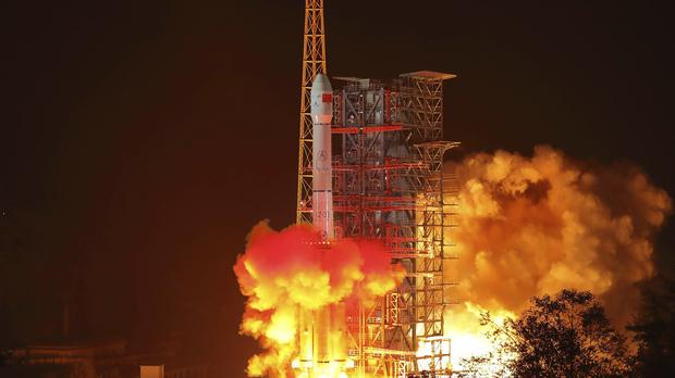 The Chang'e 4 lunar probe launches from the the Xichang Satellite Launch Centre in China (Jiang Hongjing/Xinhua via AP)