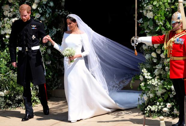 Royal wedding...Prince Harry and Meghan Markle leave St George's Chapel in Windsor Castle after their wedding Credit: Andrew Matthews/PA Wire