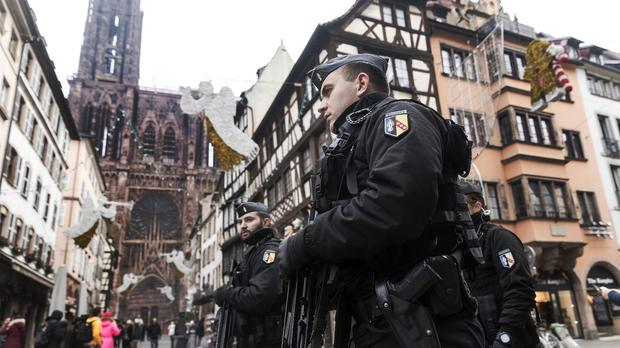 French police patrol next to Notre-Dame cathedral of Strasbourg (Jean Francois Badias/AP)