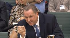 Chief Executive of the Sports Direct Group Mike Ashley gives evidence before the Housing, Communities and Local Government Committee on high streets and town centres in 2030 at the House of Commons in London (PA)