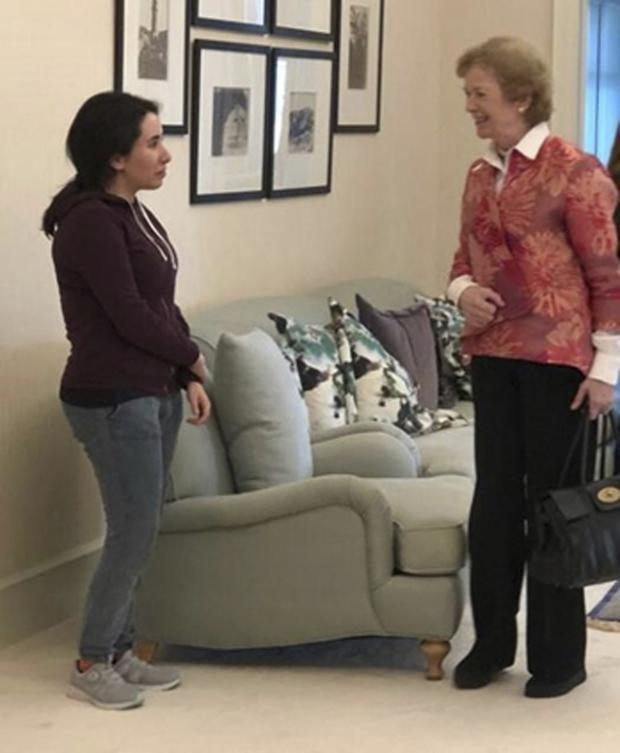 Sheikha Latifa bint Mohammed Al Maktoum, left, meets Mary Robinson (United Arab Emirates Ministry of Foreign Affairs and International Cooperation via AP)