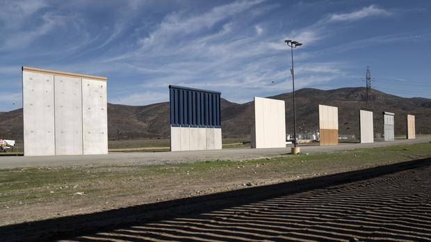 Border wall prototypes stand in San Diego near the Mexico-US border