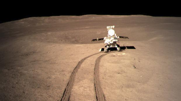 China's lunar rover after leaving the lander that touched down on the surface of the far side of the moon (China National Space Administration/Xinhua News Agency/AP)