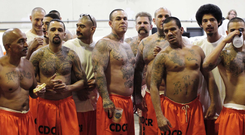 HARD TIME: Jailed gang members in a federal jail in California