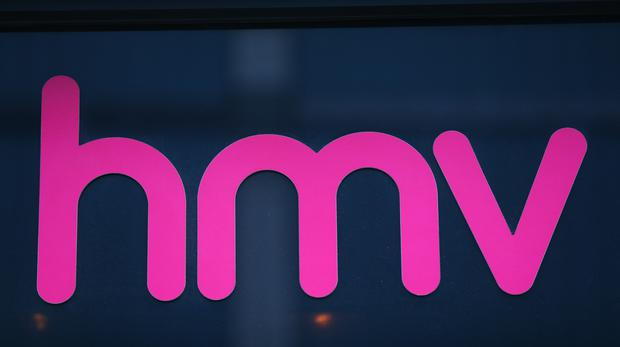 A sign outside the HMV store on Oxford Street. (PA)