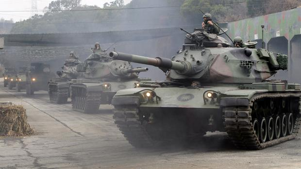 M60A3 Patton tanks during military exercises in Taichung, central Taiwan (Chiang Ying-ying/AP)