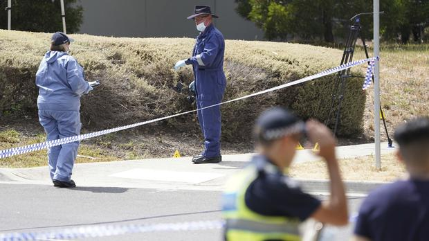 Police investigators at the scene where Israeli student Aiia Maasarwe was found in Melbourne, Australia (Stefan Postles/AAP Image via AP)