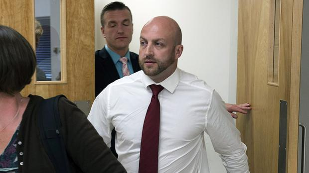 Darren Smalley (with white shirt) at an earlier court appearance (Andrew Vaughan/Canadian Press/AP)