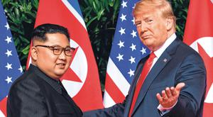 Summit: US President Donald Trump meets with North Korea's leader Kim Jong-un in June last year. Photo: Getty Images