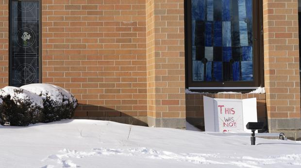 """A sign reading """"This was not okay,"""" is seen in front of Covington Catholic High School (AP)"""