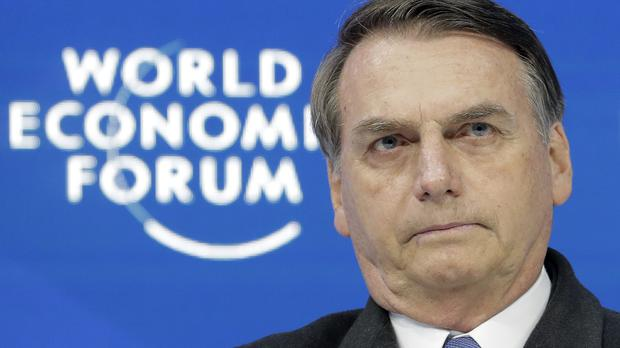 Jair Bolsonaro, President of Brazil, participates in a session at the annual meeting of the World Economic Forum in Davos, Switzerland (Markus Schreiber/AP)