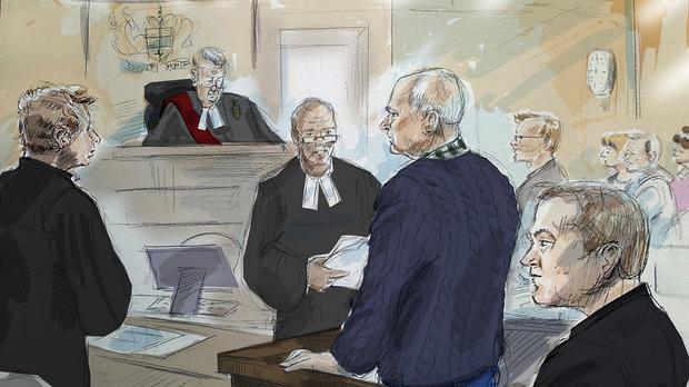 In this courtroom sketch from left to right, defense lawyer James Miglin, Justice John McMahon, court registrar, Bruce McArthur, Crown Attorney Michael Cantlon, Detective Hank Idsinga, and friends and family of victims, back right, appear in court in Toronto on Tuesday, Jan. 29, 2019. McArthur, a former landscaper accused of sexually assaulting, killing and dismembering men he met in Toronto's Gay Village district over seven years, pleaded guilty on Tuesday to eight counts of first-degree murder. (Alexandra Newbould/The Canadian Press via AP)