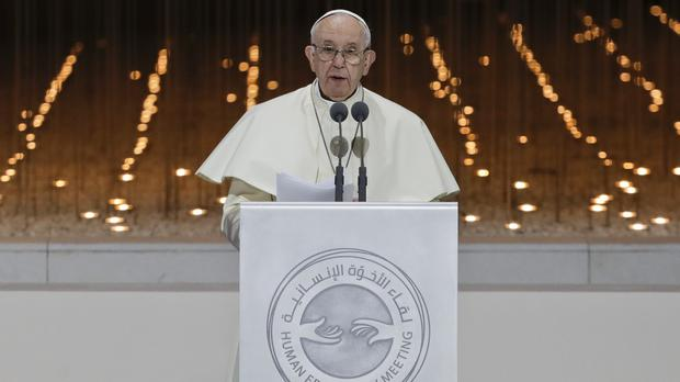 Pope Francis delivers his speech (Andrew Medichini/AP)