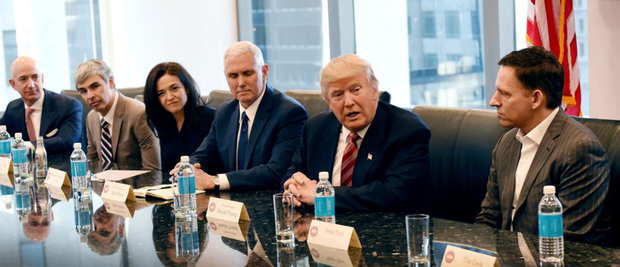 MASTERS OF THE UNIVERSE: From left, Jeff Bezos (Amazon), Larry Page (Google), Sheryl Sandberg (Facebook), Mike Pence (US vice president), Donald Trump (US president), Peter Thiel (PayPal)