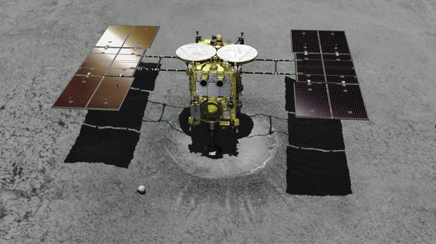 A computer graphic image of the Japanese unmanned spacecraft Hayabusa2 (JAXA via AP)