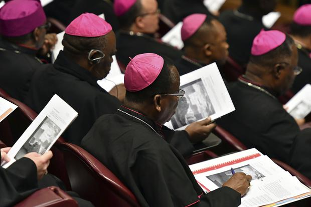 Bishops attend the opening of the sex abuse prevention summit at the Vatican (Vincenzo Pinto/Pool Photo via AP)