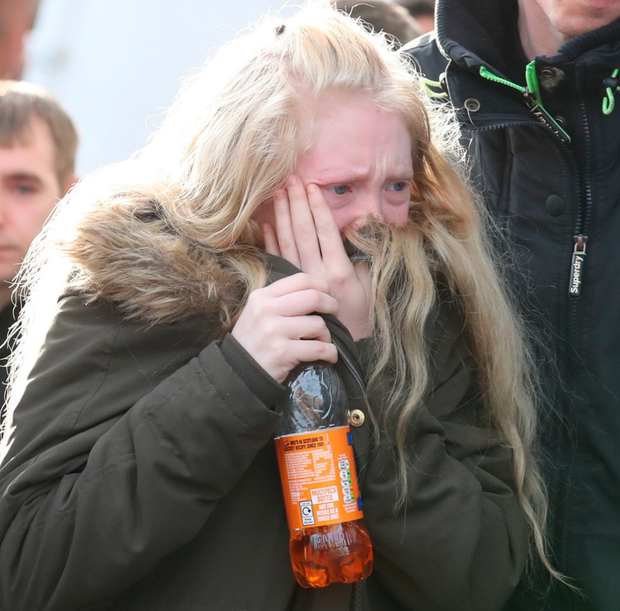 Tears: Georgina Lochrane leaves court in Glasgow after a boy (16) was found guilty of the murder and rape of her daughter Alesha. Photo: PA