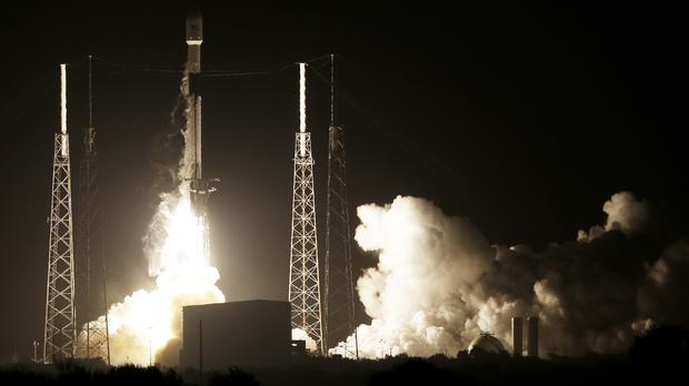 A SpaceX Falcon 9 rocket lifts off with Israel's Lunar Lander (Terry Renna/AP)