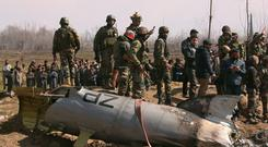 Crash: Wreckage of an Indian Air Force helicopter in Kashmir