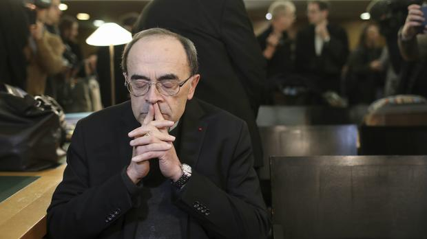 Cardinal Philippe Barbarin pictured earlier in his trial in court in Lyon (Laurent Cipriani/AP)