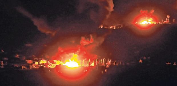 Fiery end: Baghouz in flames during the advance into the Isil enclave. Photo: Reuters