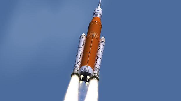 This illustration made available by Nasa shows the Space Launch System during lift-off (Marshall Space Flight Centre/Nasa via AP)