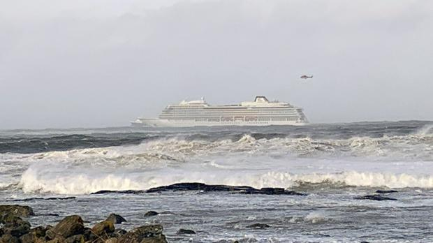 Viking Sky after it sent out a mayday signal because of engine failure off Norway (Odd Roar Lange / NTB scanpix via AP)