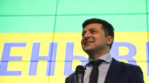 Volodymyr Zelenskiy takes part in a press conference after the vote (Emilio Morenatti/AP)