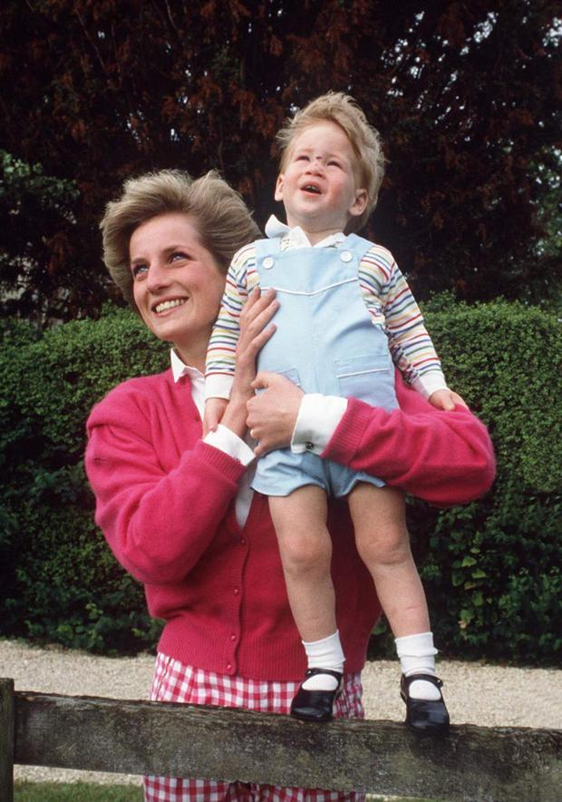 The late Princess Diana with a young Harry