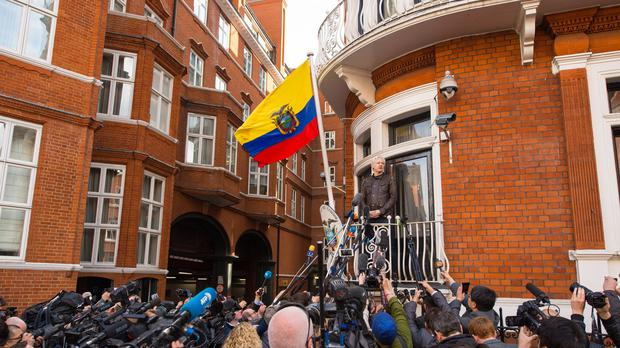 Julian Assange speaks from the balcony of the Ecuadorian embassy (Dominic Lipinski/PA)