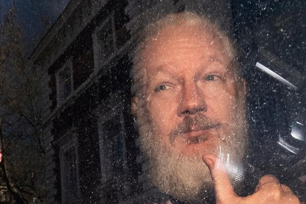 Julian Assange after being taken from the Ecuadorian Embassy in London Picture: PA