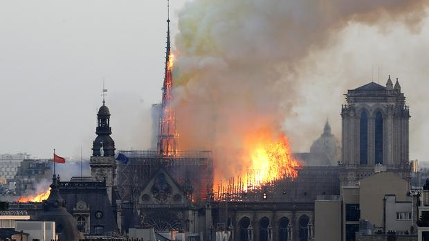 Flames rise from Notre Dame cathedral (AP Photo/Thibault Camus)