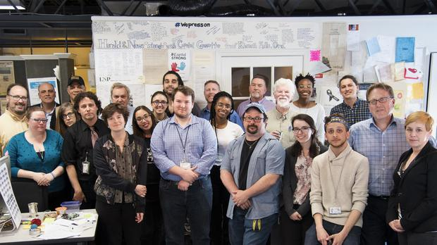 Staff members, former staff, and friends of the Capital Gazette pose for a photo after it won a special Pulitzer Prize citation (Josh Davisburg/The Baltimore Sun/AP)