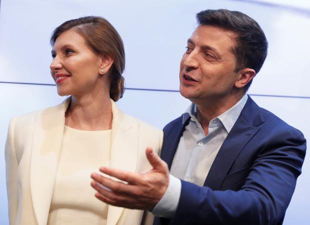 Real deal: New Ukrainian president Volodymyr Zelenskiy, pictured with wife Olena, has no previous political experience but will now take on the role for real after playing a fictional president in a television sitcom. Photo: Reuters