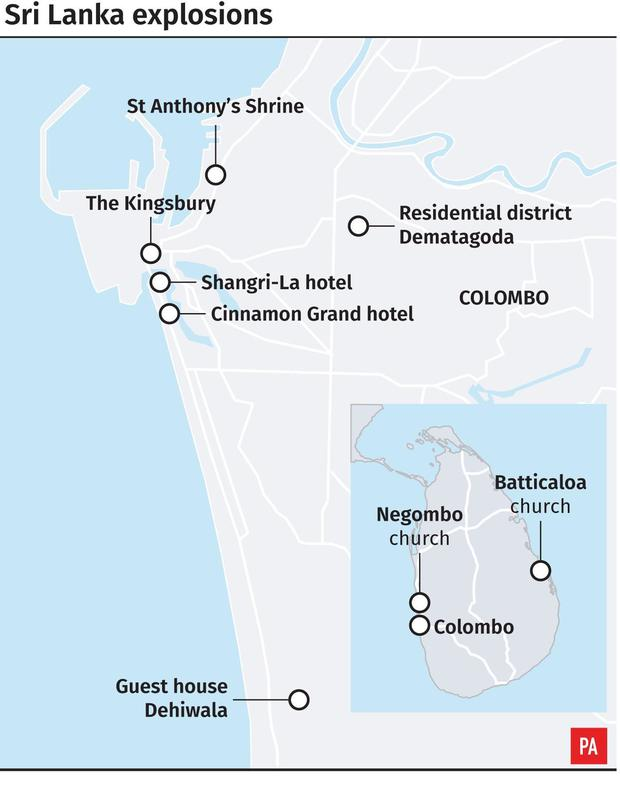 Where the Easter Sunday explosions took place (PA Graphics)
