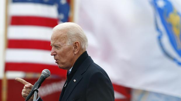Former vice president Joe Biden speaks at a rally (Michael Dwyer/AP)
