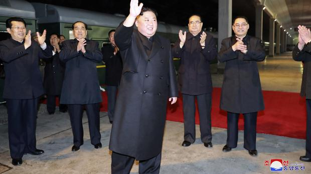 Kim Jong Un left North Korea on Wednesday before leaving for Russia (Korean Central News Agency/Korea News Service via AP)