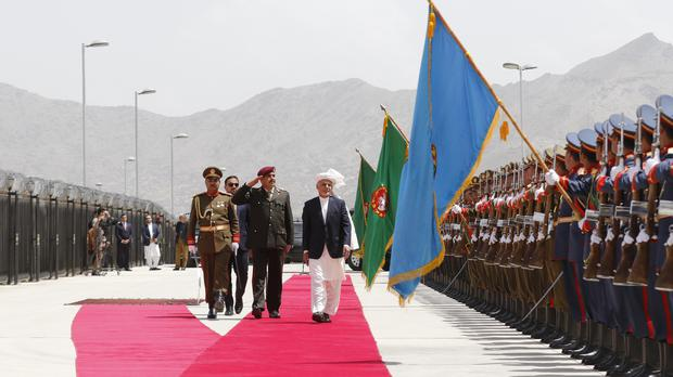 Afghan President Ashraf Ghani arrives for the inauguration of the country's new parliament (AP)