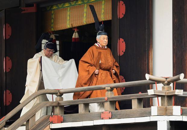 Peaceful reign: The outgoing Emperor Akihito of Japan at the Imperial Palace in Tokyo yesterday.