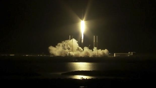 A SpaceX Falcon rocket carrying a load of supplies lifts off from Cape Canaveral (Nasa/AP)