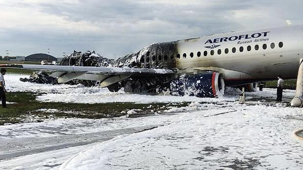 The Sukhoi SSJ100 aircraft (Moscow News Agency photo via AP)